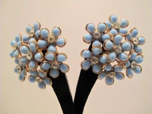 1960's 'Forget-me-not' cluster earrings.